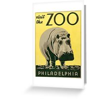 Visit the Zoo, Hippo Greeting Card