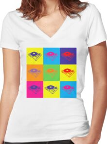 Pop Art 1200 Turntable Women's Fitted V-Neck T-Shirt