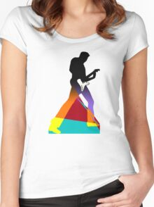 Pop Art Guitar Rocker Women's Fitted Scoop T-Shirt