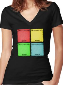 Colored Ink Gameboys Women's Fitted V-Neck T-Shirt