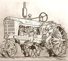 International Harvester tractor drawing by RobCrandall