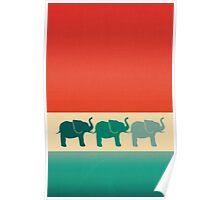Three Elephants - Burnt orange, cream & teal Poster