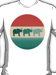 Three Elephants - Burnt orange, cream & teal T-Shirt