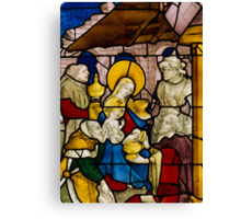 Window depicting the Adoration of the Kings Canvas Print
