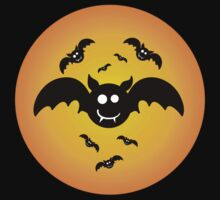 Cute Illustrated Tee Shirt with Bats by jonaqs