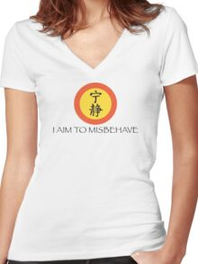 Aim to Misbehave Women's Fitted V-Neck T-Shirt