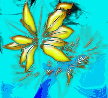 flowers on Blue Background by Rob Cox