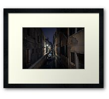Venetian canal at night Framed Print