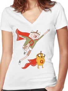Adventures With Quailman - As Seen on Ript! Women's Fitted V-Neck T-Shirt