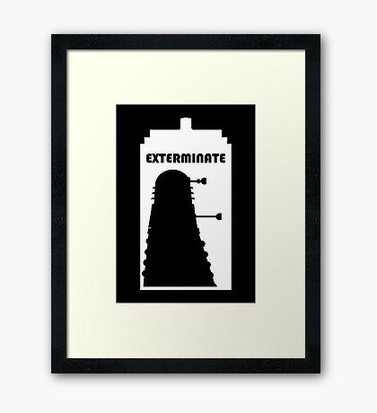 Dalek within Tardis (white) Framed Print