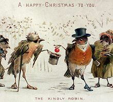 The Kindly Robin, Victorian Christmas card by Bridgeman Art Library