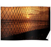 Sunset through the fencing Poster