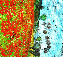 Vincent Poppies Field On The Phone by artguy24