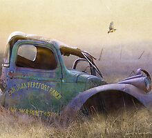 san juan cattle company - old truck and meadowlark by R Christopher  Vest