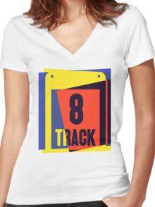 Pop Art 8 Track Tape Women's Fitted V-Neck T-Shirt