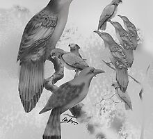 Sweet Li'l Aussie Birds (black and white) by Peter Grayson