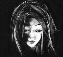 A Moment in Time : Monotype of a Girl B&W by sillosophy