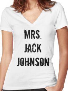 Mrs. Jack Johnson Women's Fitted V-Neck T-Shirt