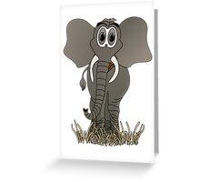 Grey Elephant Cartoon Greeting Card