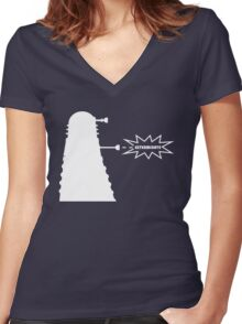 Exterminate (white) Women's Fitted V-Neck T-Shirt