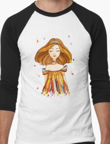 Girl in feather dress Men's Baseball ¾ T-Shirt