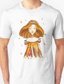 Girl in feather dress Unisex T-Shirt