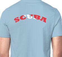 SCUBA WITH SCUBA DIVING FLAG RED AND WHITE  Unisex T-Shirt