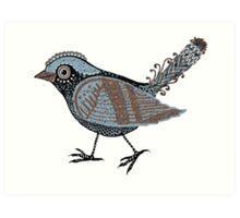 """""""Wacky Bird""""  Blues Brown Blk Art Print"""