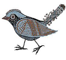 """Wacky Bird""  Blues Brown Blk Photographic Print"