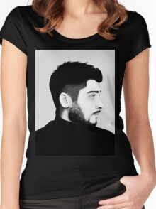 Zayn Malik Digital Drawing Black and White Women's Fitted Scoop T-Shirt