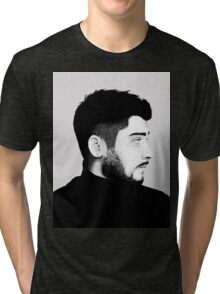 Zayn Malik Digital Drawing Black and White Tri-blend T-Shirt