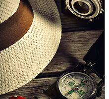 retro camera and Panama hat by laikaincosmos