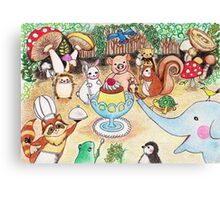 Animal Party in the Deep Forest Canvas Print