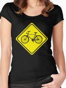 Cyclist Warning Sign v1 Women's Fitted Scoop T-Shirt