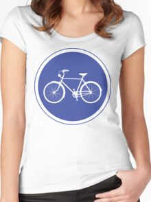 Cyclist Warning Sign v2 Women's Fitted Scoop T-Shirt