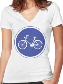 Cyclist Warning Sign v2 Women's Fitted V-Neck T-Shirt