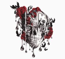 Melt down, grunge rose skull by KristyPatterson