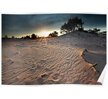 Sunset over dunes Poster