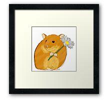 Hamster holding a flower Framed Print