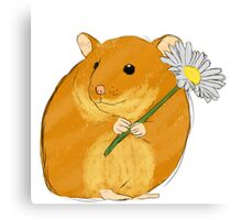 Hamster holding a flower Canvas Print