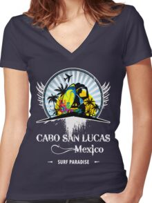 Cabo San Lucas Mexico Beach Women's Fitted V-Neck T-Shirt