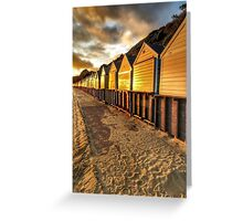 Beach hut in the gloaming Greeting Card