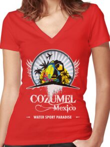 Fine Beach Of Cozumel Women's Fitted V-Neck T-Shirt