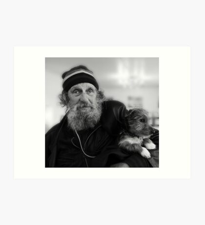 Geoffrey the blind motorcyclist and dog.. Art Print