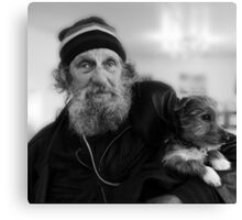 Geoffrey the blind motorcyclist and dog.. Canvas Print