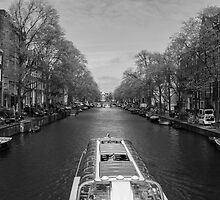 Boat on the Singel Canal by boraakbay
