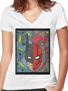 Bat and Hood Women's Fitted V-Neck T-Shirt
