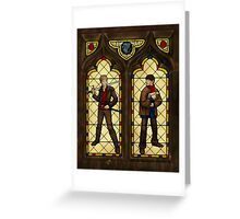 Arthur & Merlin stained glass Greeting Card