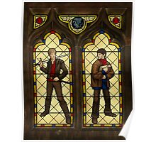 Arthur & Merlin stained glass Poster