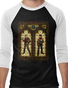Arthur & Merlin stained glass Men's Baseball ¾ T-Shirt